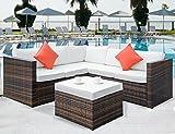 Cheap Leisure Zone 4 PCS Outdoor Cushioned PE Rattan Wicker Sectional Sofa Set Garden Patio Furniture Set (Beige Cushion)