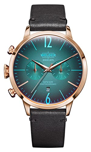 Welder Moody Black Leather Dual Time Rose Gold-Tone Watch with Date 42mm