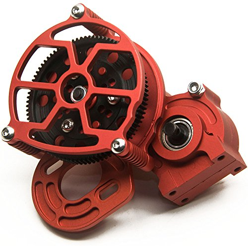 Que-T Aluminum Alloy Center Transmission Case /Gearbox with Straight Gear for 1/10 Axial SCX10 RC Model Crawler Car (Red)
