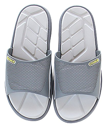 Slip On Slippers Non-slip Shower Sandals House Mule Mesh Uppers Pool Shoes Bathroom Slide for Adult Grey MxslBPY