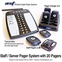 Wireless Staff Server Paging System Kit with Transmitter and 20 Pagers - Newest Design - 1 Year Warranty