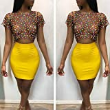 Wintialy Women Sexy 2 Pieces Dot Print Mesh Short