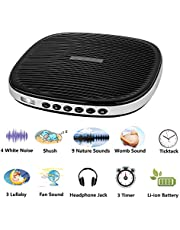 White Noise Machine, Sleep Sound Machine, Spa Relaxation with 20 Soothing Sound, Memory Function and Sleep Timer for Baby, Kids, Adults, Infants with Natural Wind, Ocean Sound Effects