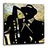 3dRose dpp_80442_2 Black Silhouette of Man N Horn I Call All About Jazz Wall Clock, 13 by 13-Inch For Sale