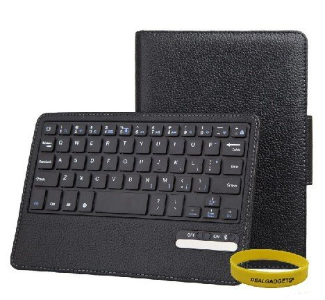 Dealgadgets® Removable Detachable Wireless Bluetooth Keyboard PU Leather Case Tablet Stand for Apple iPad Mini (Black)