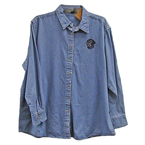 Cherrybrook Dog Breed Embroidered Ladies Denim Shirts - Medium - Denim - Flat Coated - Breed Shirt Denim