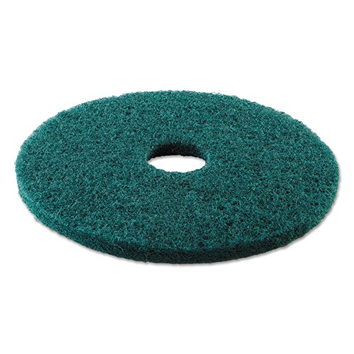 "Boardwalk BWK4013GRE Standard Heavy-Duty Scrubbing Floor Pads, 13"" Diameter, Green (Case of 5)"