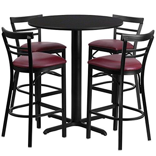 24' High Round Table (Flash Furniture 24'' Round Black Laminate Table Set with 4 Ladder Back Metal Barstools - Burgundy Vinyl Seat)