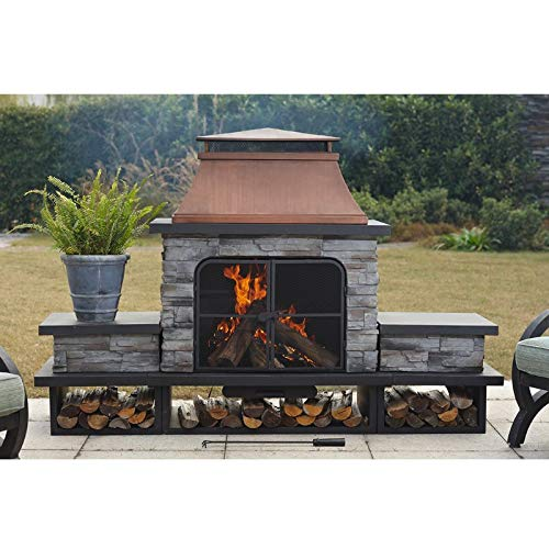 Outdoor Patio Fireplace Heater Burner Large Wood Burning Fireplace Modern Steel Metal Faux Stone with Log Grate Poker Screen Protector Doors Accessories by Outdoor Patio Fireplace Heater