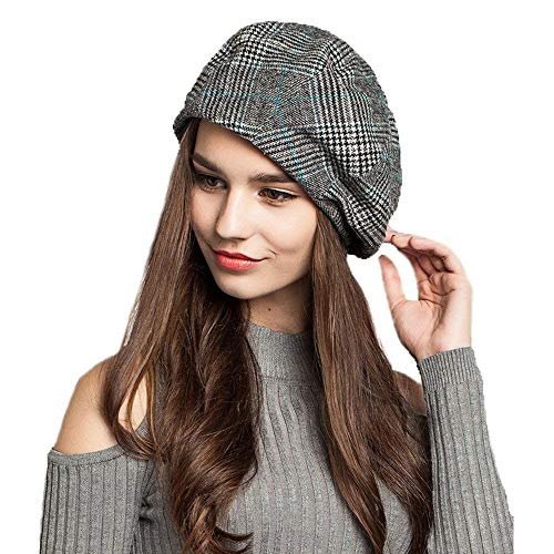 Striped Womens Beret - EINSKEY Lady French Beret Wool Beret Cap Chic Winter Newsboy Hat Grid Striped Slouchy Beanie for Women