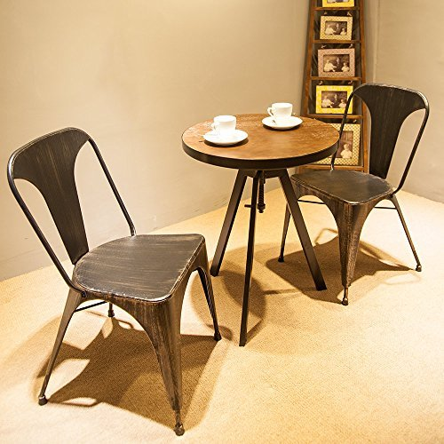 - Merax T Series Set of 2 Tolix Style High Back Chic Steel Stackable Metal Dining Chairs for Bistro/Cafe (Golden Black)