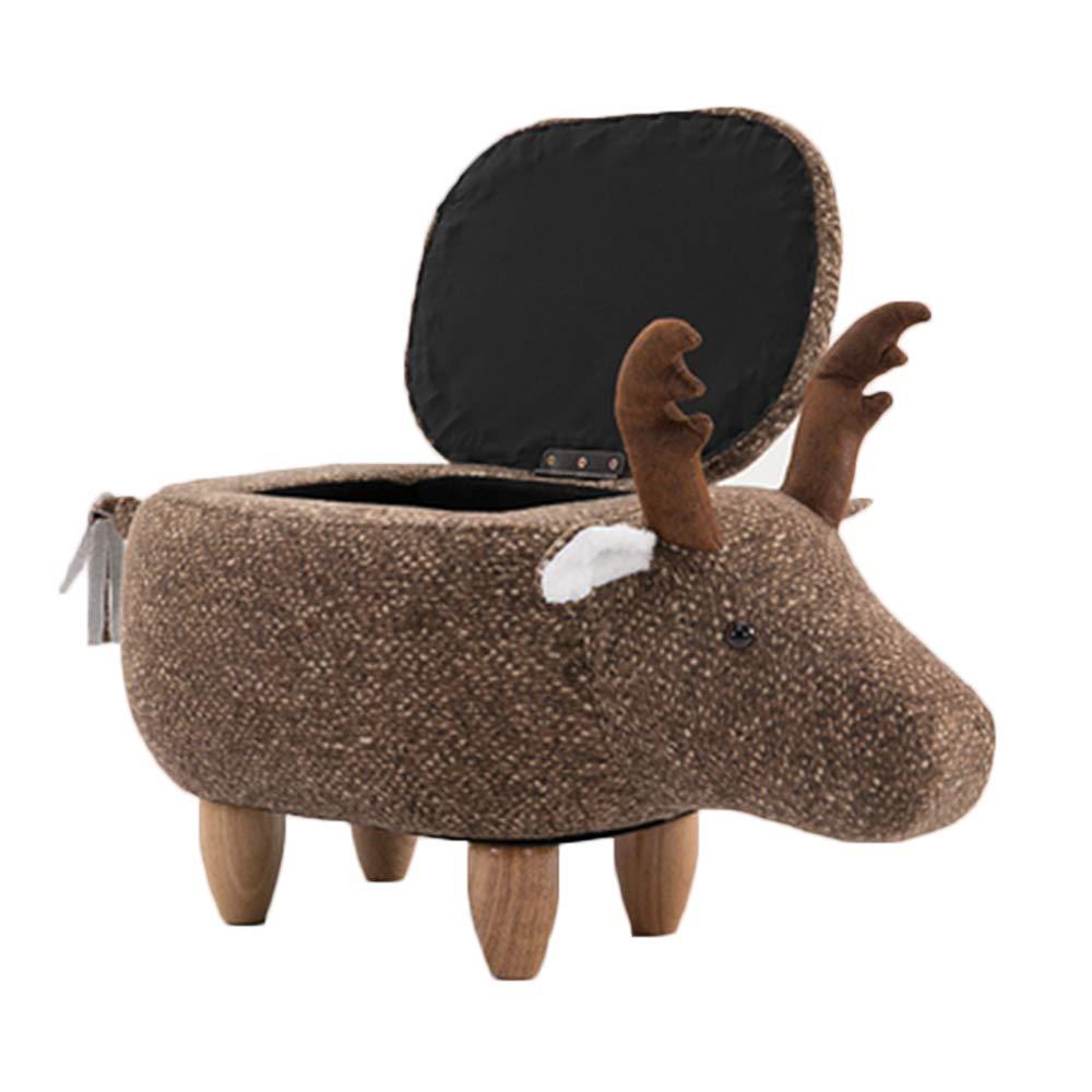 Kinderhocker Wood Fawn Hocker Animal Hocker Sitz Weißh Waschbar Sitzend Und Bequem Mit Aufbewahrungsbox Coffee- Without lid braun With lid