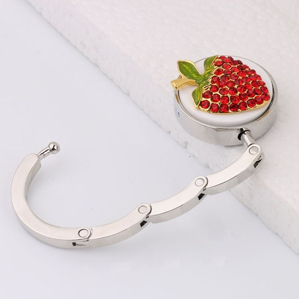 Zduang Gift Rhinestone Foldable Purse Bag Hanger Handbag Strawberry Table Hook Holder