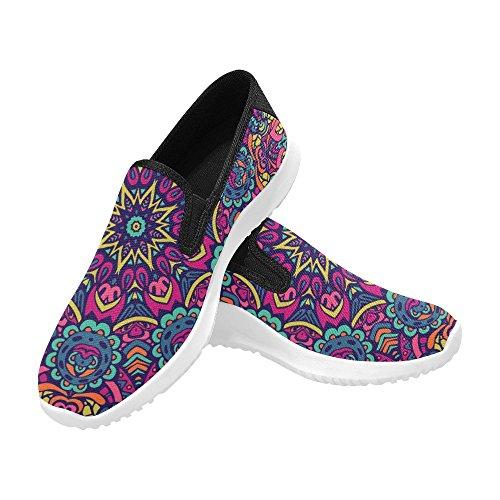 Interestprint Abstraite Festive Coloré Ethnique Tribal Floral Indien Mandala Femmes Slip-on Mocassins Chaussures Toile Mode Sneakers Multi 1