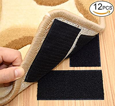 Rug Anchors Carpet Hook and Loop Non-slip Mat Anti-skid Stickers Rectangle