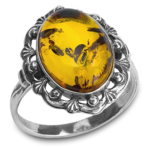Baltic Amber Sterling Silver Classic Oval Ring,Yellow,12