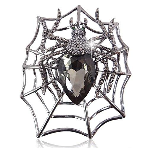 Black Pin Pendant - EVER FAITH Rhinestone Crystals Halloween Spider Web Teardrop Brooch Pendant Black Black-Tone