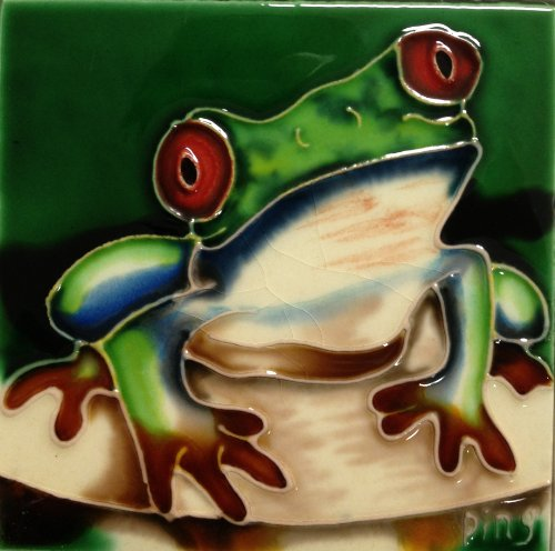 Continental Art Center SD-091 4 by 4-Inch Frog No.1 Ceramic Art Tile ()