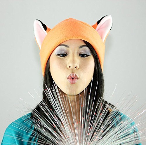 Orange fox Ear Naruto Hat Toque Beanie Feline Kitty Kitten Fleece Anime Manga Ski Snowboarding Convention Goth Punk Rave clubbing Costume Cosplay Halloween fox Christmas Gift