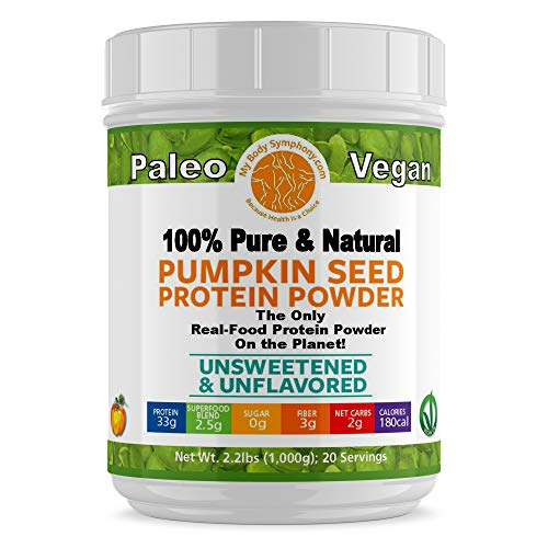Pumpkin Seed Protein Powder - Unsweetened-Unflavored | 100% Pure and Natural, Raw, Superfood, Cold Pressed | Vegan, Non-GMO, Paleo and Keto Friendly | 2.20 lbs 20 ()
