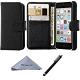 iphone 5c case rubber bumper - iPhone 5c Case, Wisdompro Premium PU Leather 2-in-1 Protective [Flip Folio] Wallet Case with Multiple Credit Card Holder/Slots for Apple iPhone 5c (Black)
