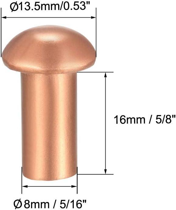 Sourcingmap 10 remaches de cobre macizo con cabeza redonda