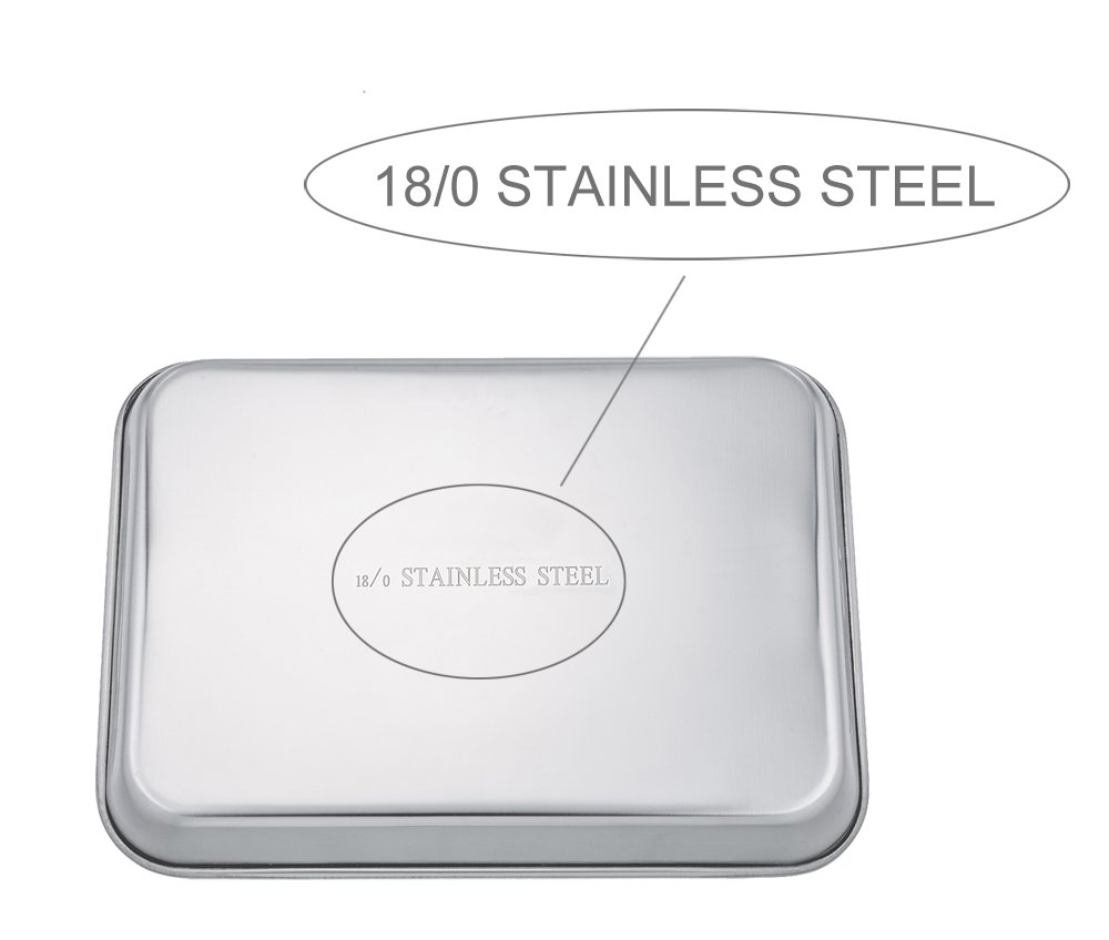 TeamFar Baking Sheets Set of 3, Stainless Steel Cookie Sheet Baking Tray Pan, 16x12x1 inch, Non Toxic & Rust Free, Easy Clean & Dishwasher Safe by TeamFar (Image #2)