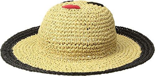 San Diego Hat Company Kids Girl's Paper Crochet Sun Brim w/Face Patch (Little Kids/Big Kids) Natural/Black 5-7 Years