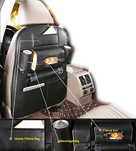 1Pack PU Leather Premium Car Seat Back Organizer Travel Accessories, Car Seat Back Organizer Seat Protector/Kick mats Back seat Protector and iPad Mini Cup Holder Holder,Universal Use Seat Covers (Fs Tissue Holder)