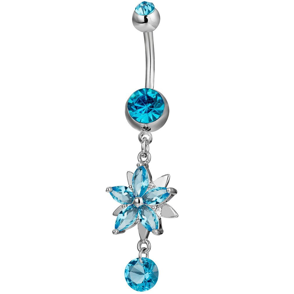 Fashion Women Body Piercing Jewelry 14G Hypoallergenic Stainless Steel Cubic Zirconia Belly Button Ring Navel Rings Crystal Flower Dangle Diamond Blue