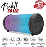 Woozik Rockit Go / S213 LED Portable Bluetooth Outdoor Indoor Hi-Fi Wireless Speaker Boombox with Dancing LED Lights, FM Radio, SD Card,AUX 3.5mm, USB MP3 (Black)