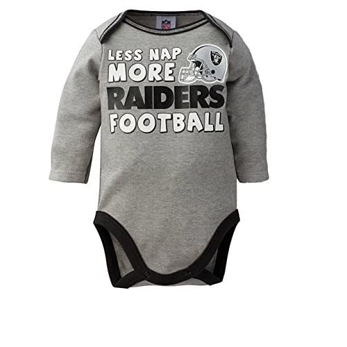 bae1eeaed Oakland Raiders Infant Onesie Size 3-6 Long Sleeve Bodysuit Creeper - Gray  Las Vegas