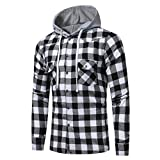 WM & MW Men s Shirt with Hoodie Long Sleeve Button-up Plaid Print Hooded Tops Sweatshirt Pullover (2XL=(US:XL), Black)