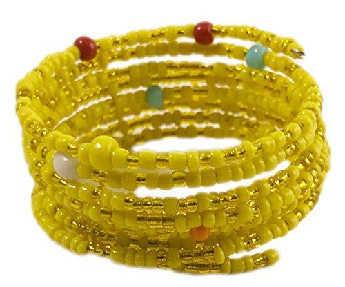 Maisha Beautiful African Fair Trade children's yellow color glass beaded Coil (Fair Trade Glass)