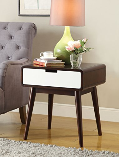 Acme Furniture ACME Christa End Table - Dimensions: 20W x 18D x 23H in. Solid and engineered wood, wood veneer Walnut and white finishes - living-room-furniture, living-room, end-tables - 51ixL8OC9NL -