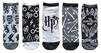 Harry Potter Designs Juniors/Womens 5 Pack Ankle Socks Size 4-10