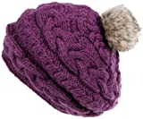 Nirvanna Designs CH700 Circular Cable Beret with Fleece and Faux Fur Pom, Plum