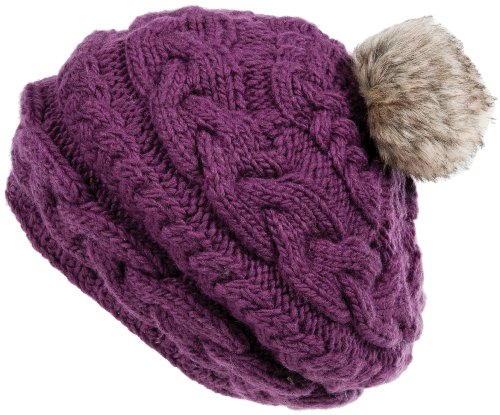 Nirvanna Designs CH700 Circular Cable Beret with Fleece and Faux Fur Pom, Plum by Nirvanna Designs