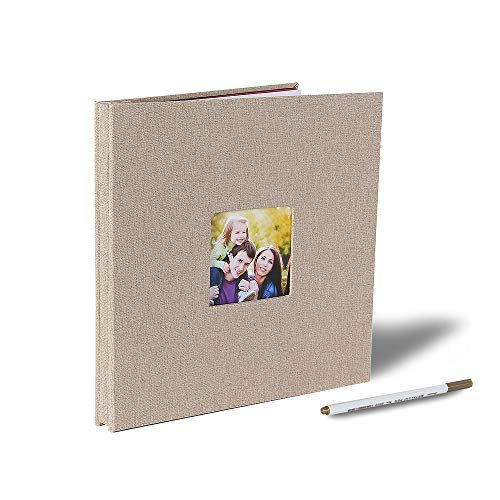 Self Adhesive Photo Album Magnetic Scrapbook Album 40 Magnetic Double Sided Pages Fabric Hardcover DIY Photo Album Length 11 x Width 10.6 (Inches) with A Metallic Pen (Khaki)