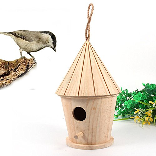 Bird House Handmade Eco Friendly Wooden Bird Nesting Box for Outdoor Garden Patio Decorative and Crafting Creating (Brown)
