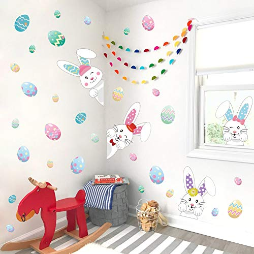 Cartoon Easter Bunnies Wall Decals Easter Eggs Wall Stickers, Lovely Easter Sticker Baby Room Decoration, Fridge Window Cling Decals Easter Home Decor(33 pcs) by DCTOP (Image #1)