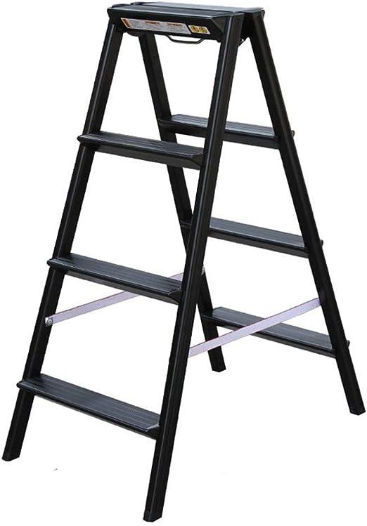 XB-ZDT Escalera Negra 4 Escalones, Escalera Plegable De Aluminio Para El Hogar, Diseño Fácil De Usar Unión De La Articulación, Pedal Triangular, Cubierta Antideslizante Del Pie, Capacidad De Carga Máx: Amazon.es: Hogar