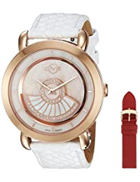 GV2 by Gevril Women's 'Catania' Swiss Quartz Stainless Steel and Leather Casual Watch, Color:Red (Model: 3601)