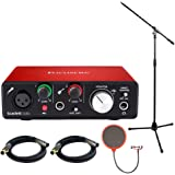 Focusrite Scarlett Solo USB Audio Interface (2nd Generation) Bundle with 2 XLR Cables, Microphone Stand, Wind Screen