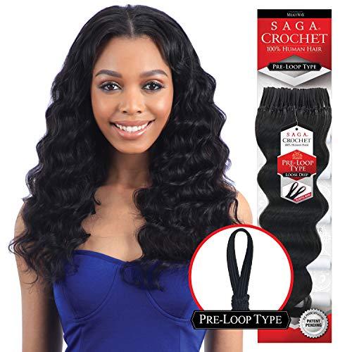 (MULTI-PACK DEALS! Saga Human Hair Crochet Braids Pre Loop Type Loose Deep With FREE GIFT (12