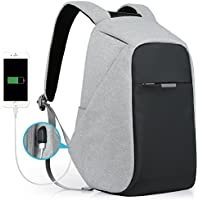Oscaurt Travel Anti-theft Business Laptop Backpack with USB Charging Port (Grey)