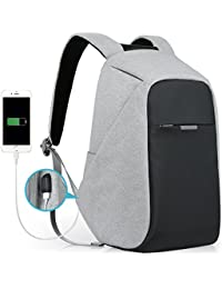 Anti-theft Travel Backpack Business Laptop School Book Bag with USB Charging Port, Water Resistant Students Work Men & Women Daypack Grey