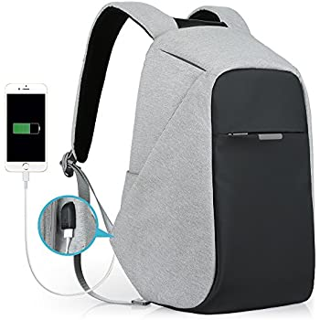 Anti-Theft Travel Backpack Business Laptop Book School Bag with USB Charging Port for Student Work Men & Women by Oscaurt Grey