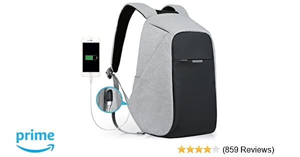 296bdc971e66 Amazon.com  Anti-Theft Travel Backpack Business Laptop Book School Bag with  USB Charging Port for Student Work Men   Women by Oscaurt Grey  Computers    ...