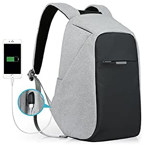 Oscaurt Anti-theft Travel Backpack Business Laptop School Book Bag with USB Charging Port, Water Resistant Students Work Men & Women Daypack Grey